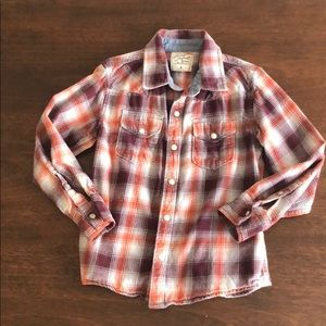 Lucky Brand maroon and orange flannel